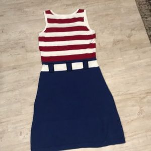 Betsey Johnson Dresses - Stripped Knit  Dress with printed belt